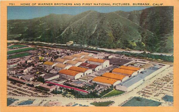 Details about Linen Postcard Warner Brothers & First National Pictures  Studio, Burbank, CA