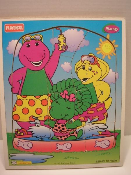 1997 barney wood wooden 10 pc puzzle baby bop swimming pool summer playskool fun