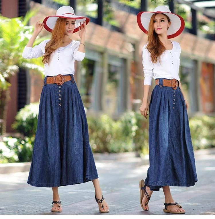 Western Style Denim Skirt-Ankle Legth | Skirt outfits ... |Western Long Denim Skirts Modest