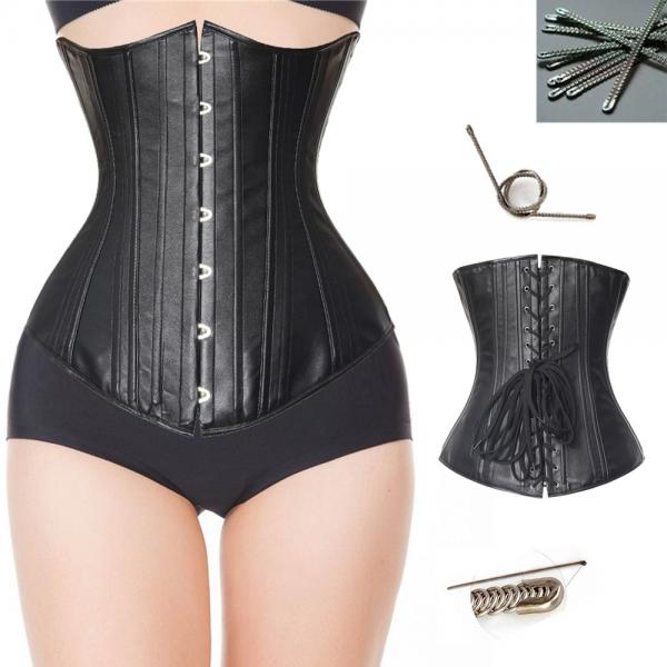 70f901984b6 Waist Training Plus Size Black PU Sexy Bustier 20 Dual spiral steel boned  Corset