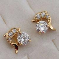 Stylish Cute Heart Blue Sapphire Topaz Jewelry Gold Filled Stud Earrings H1727