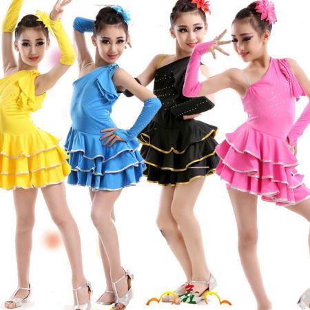 00bb3bde1725c Girls Latin Dancewear Dress Kids Ballroom Bright Tutus Costume ...