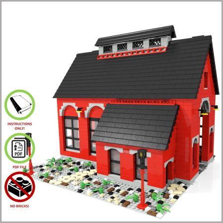 eisenbahn reparaturschuppen roter pdf bauanleitung f r lego steine 60052 ebay. Black Bedroom Furniture Sets. Home Design Ideas