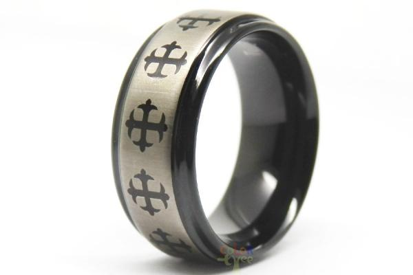 8mm Mens Black Etched Brushed Tungsten Carbide Celtic Cross Wedding Band Ring