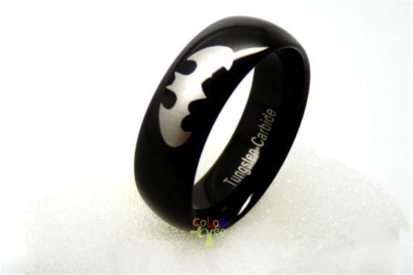 fashion 8mm new black batman tungsten carbide dome