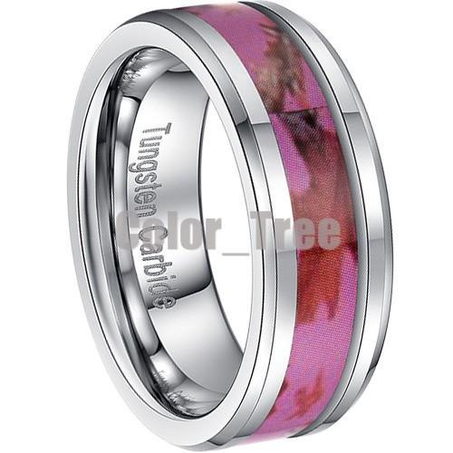 Pink And Black Tungsten Ring: 8MM Mens Pink Tungsten Oak Leaf Forest Image Camo Wedding