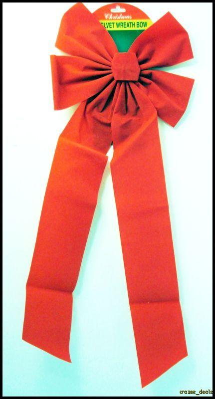 Over Sized Red Velvet Bow 27 Christmas Holiday Tree Decorating NEW