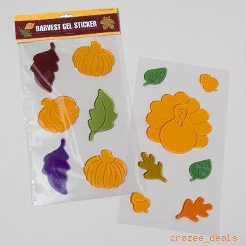 Harvest Fall Autumn Gel Window Clings 33 Piece New