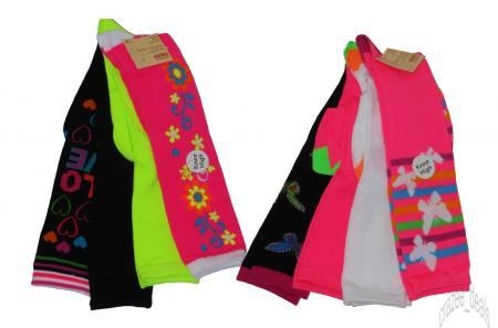 Lot Of 8 Pair Womens Knee High Crazy Neon Assorted Print