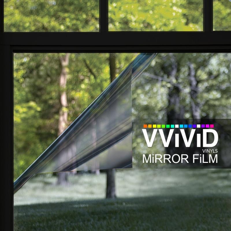 Silver one way mirror window sticker film 2ft x5ft privacy for 2 way privacy window film
