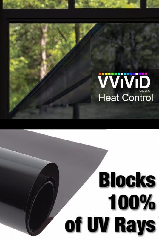 heat control vinyl window wrap 100 uv blocking film 30 x 10ft dark shade decal. Black Bedroom Furniture Sets. Home Design Ideas