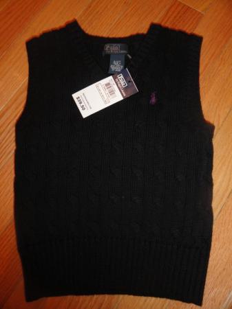 Polo Ralph Lauren Toddler Boys Black Cable Knit Sweater Vest 2 2t 39 50