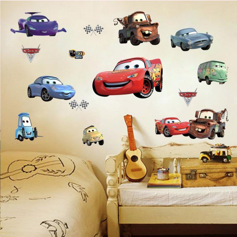 Car Nursery Wall Decor : Racing cars lighting mcqueen wall decals sticker kids