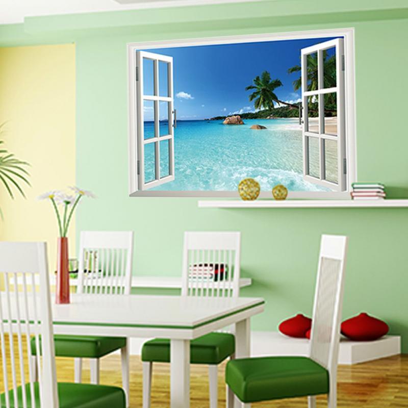 3d window ocean beach wall sticker decals room decor vinyl for Beach wall mural sticker