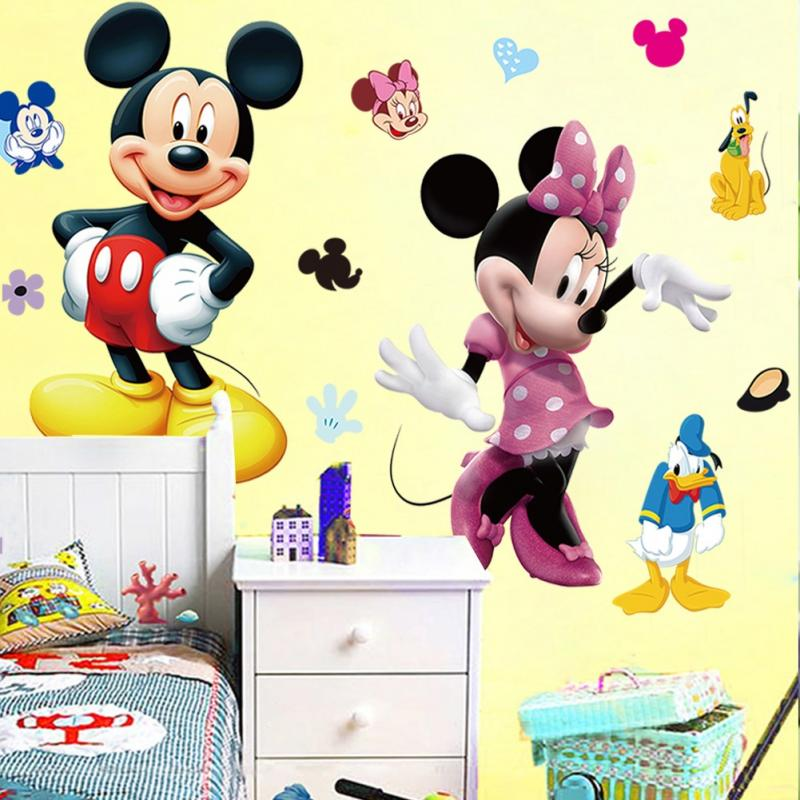 Mickey mouse minnie vinyl wall decals sticker kids nursery for Stickers infantiles