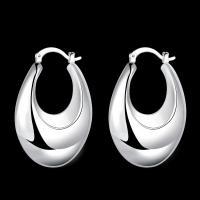 925 Silver Smooth Buddha Belly Women Ear Clip Earrings ZE711
