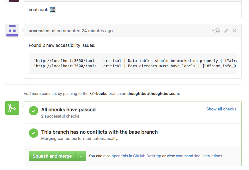 Screenshot of a comment by accesslint-ci on a GitHub pull request