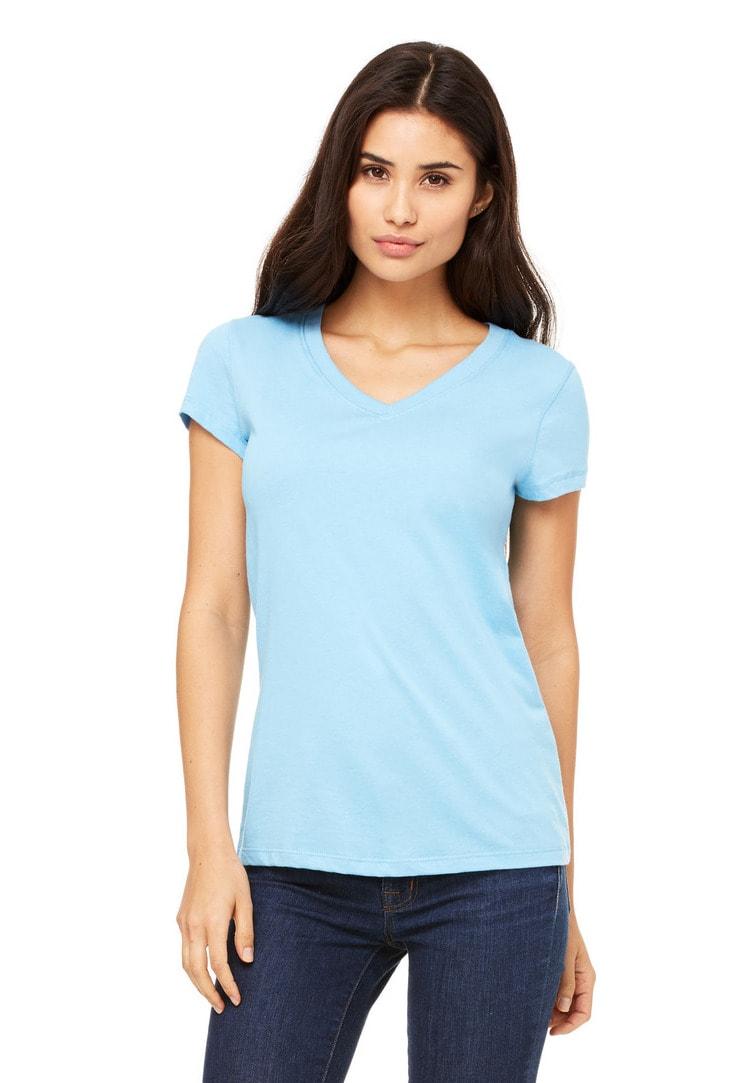 822771308 Bella 6005. Women's Jersey Short Sleeve V-Neck Tee (Junior Fit)