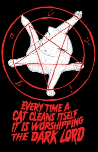 EVERY TIME A CAT CLEANS ITSELF IT IS WORSHIPPING THE DARK LORD , Typography + Threadless Collection