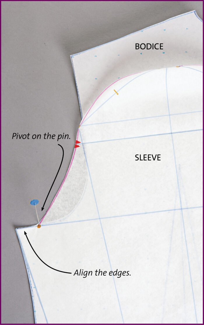 Walk the sleeve pattern along the armhole seamline