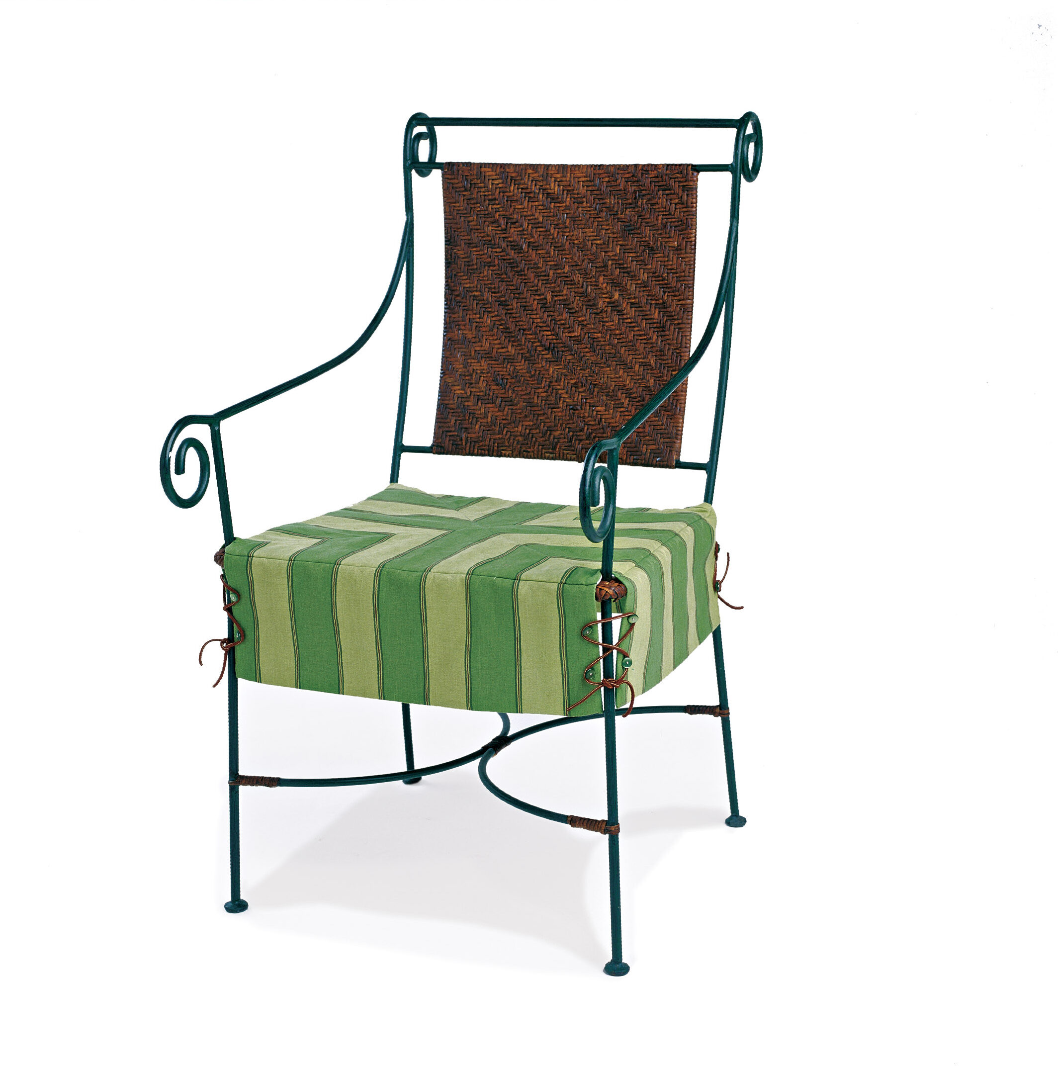 green seat cover over a wire chair