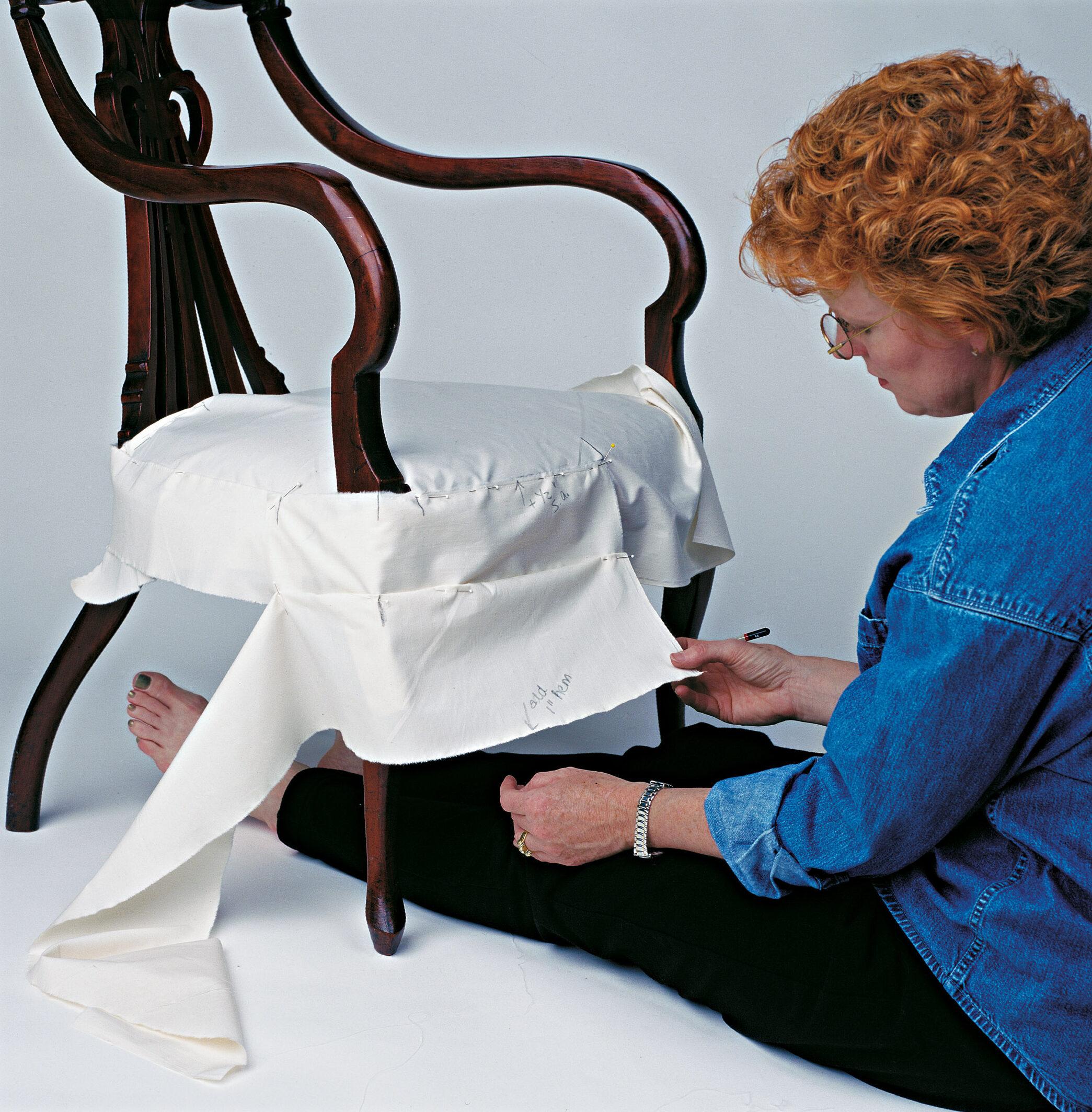 Make skirt, creating overlaps to match band overlaps. Mark center of legs for inverted pleat.