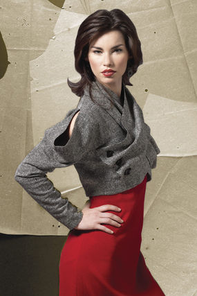 A cut-away shoulder and detachable scarf make this jacket pattern a star.