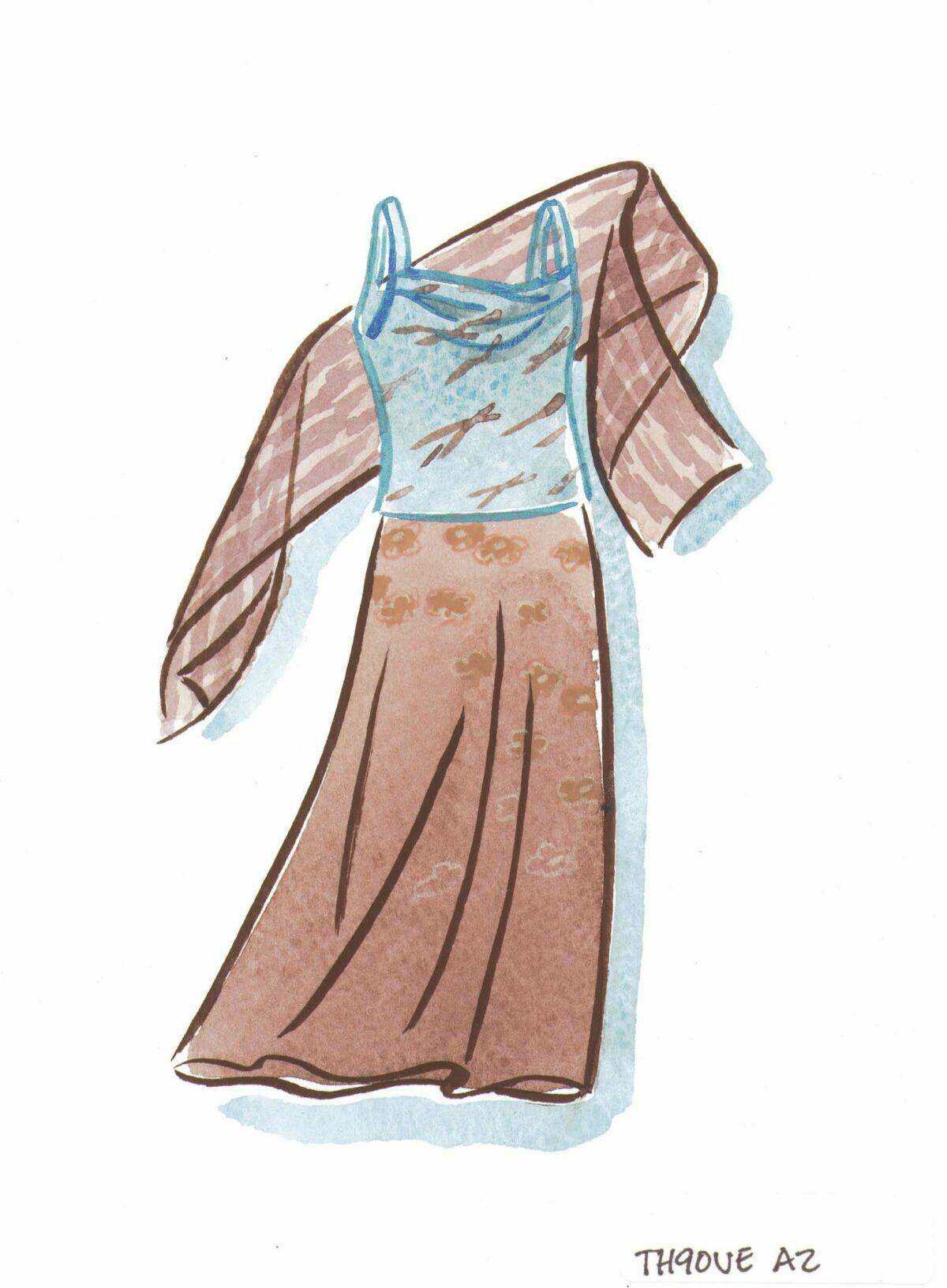 Blue chiffon camisole