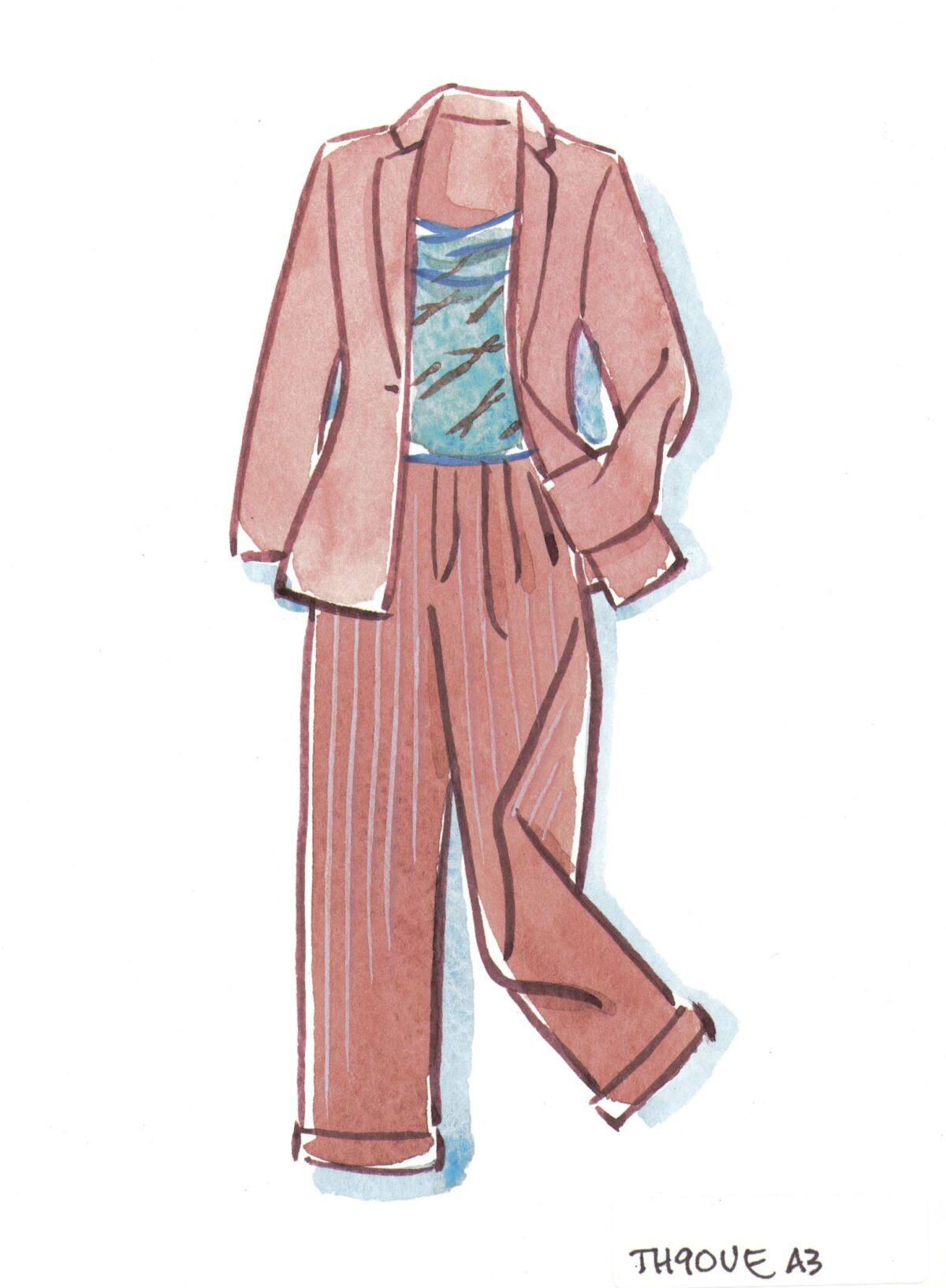 Silk broadcloth pinstripe pants
