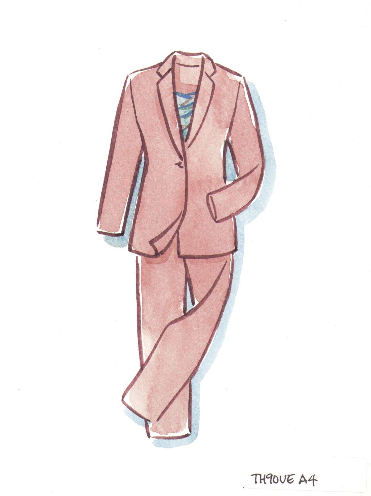 Dull pink gabardine jacket and pants
