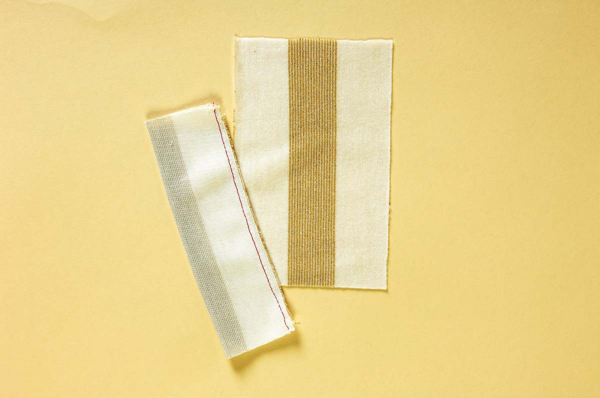 Sew two fabric strips in half.
