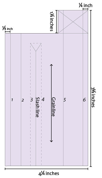 Use this pattern to cut the placket on the fabric's straight grain