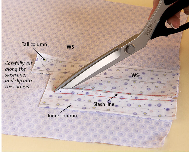 Sew through both layers along stitching lines 3 and 4, pivoting at the top corners