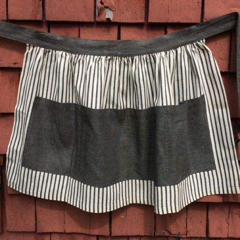 Gray-and-white striped apron