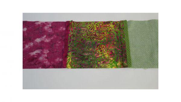 Fabric squares pressed