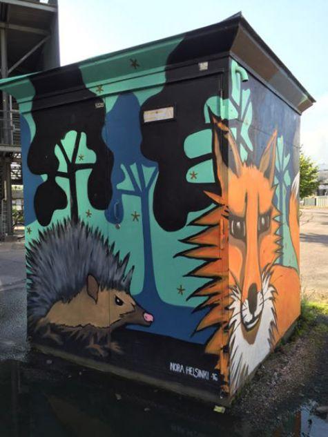 Fox building mural