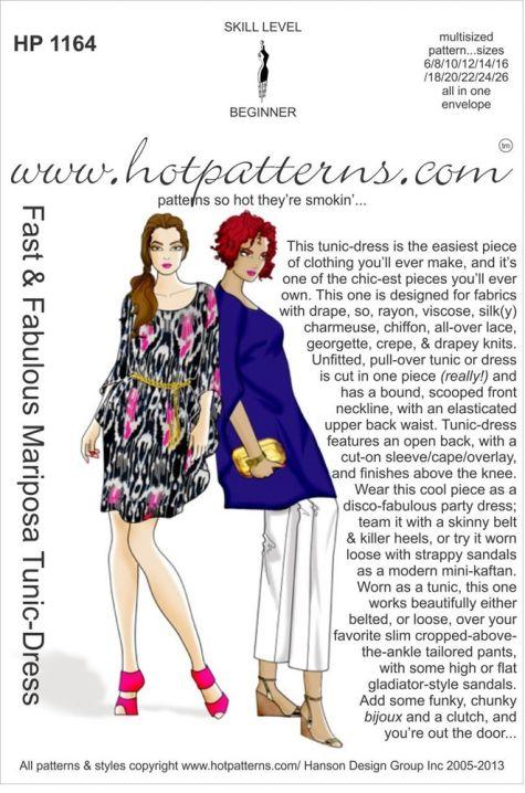 Hot Patterns 1164 Fast & Fabulous Mariposa Tunic-Dress