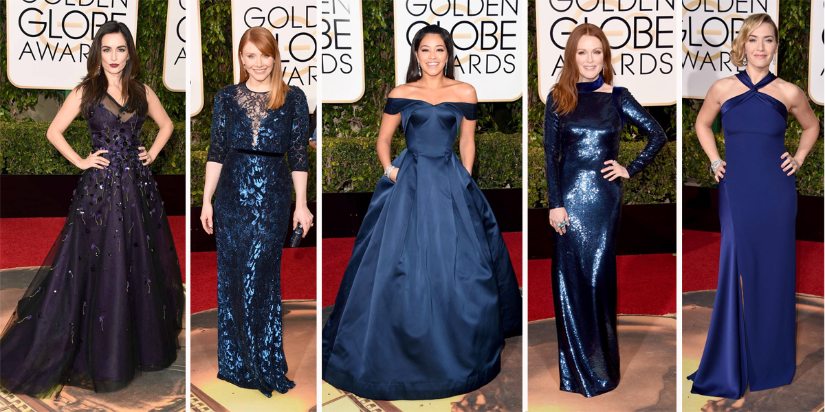 Golden globes shades of blue dresses 2016