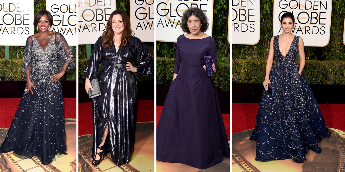 golden globes 2016 blue gowns