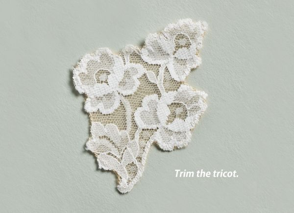 Trim the sheer tricot