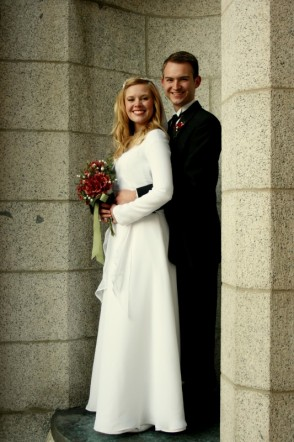 A Beautiful, But Modest Wedding Dress Which Fits The Required LDS Temple  Guidelines. The Dress Has Long Sleeves, A High Boat Neck With A Drop Waist  That ...
