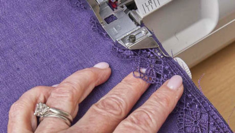 Serging a smooth and even hem using a quick technique.