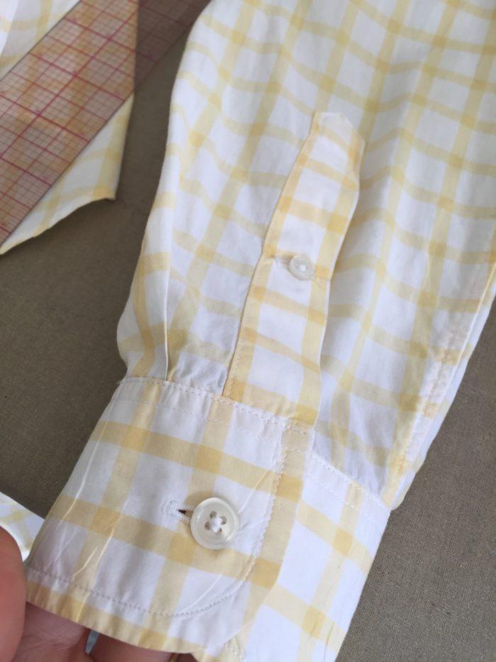 Men's plaid shirt sleeve