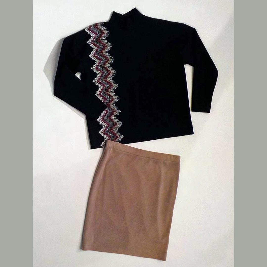 Knit top and knit pencil skirt