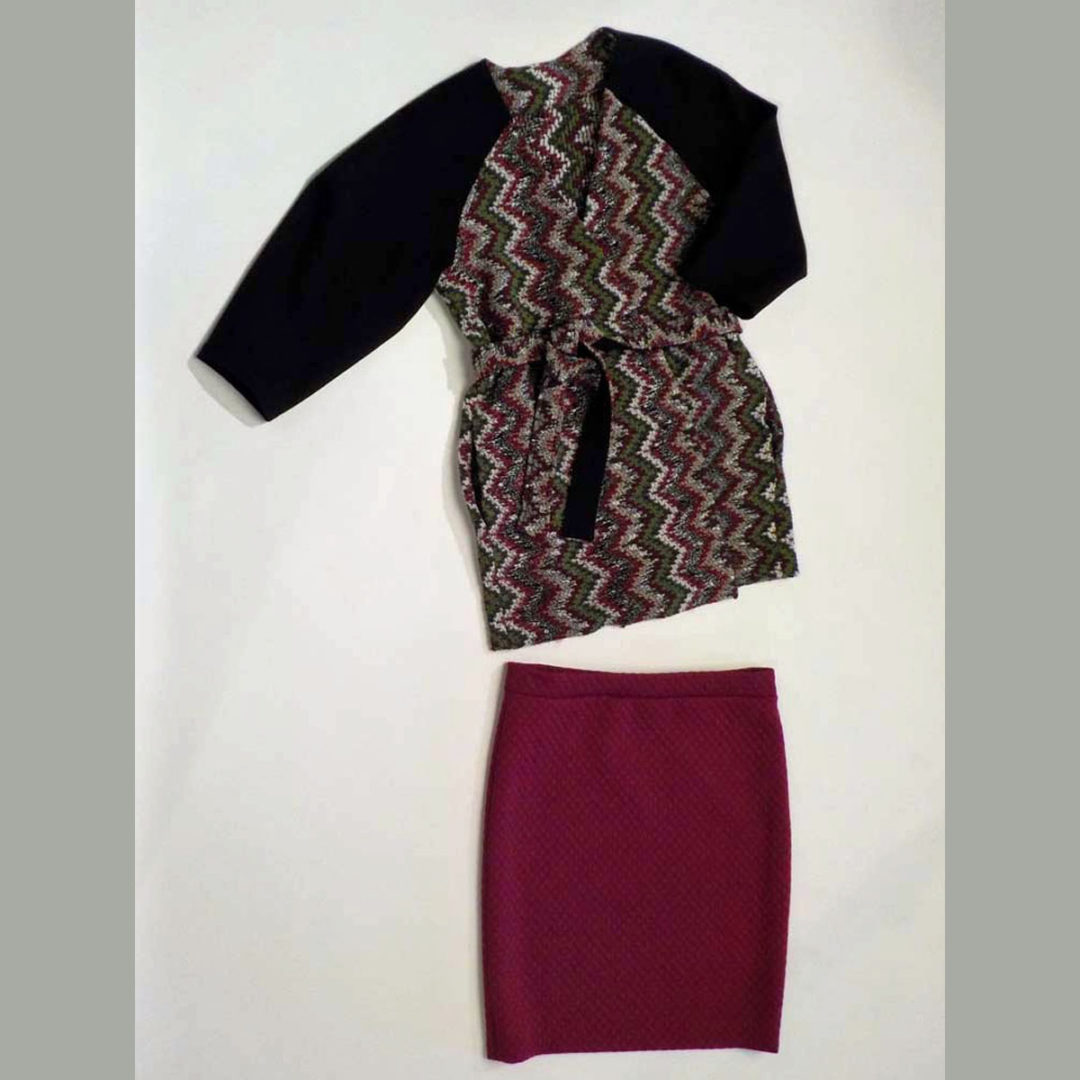 Knit jacket and pencil skirt