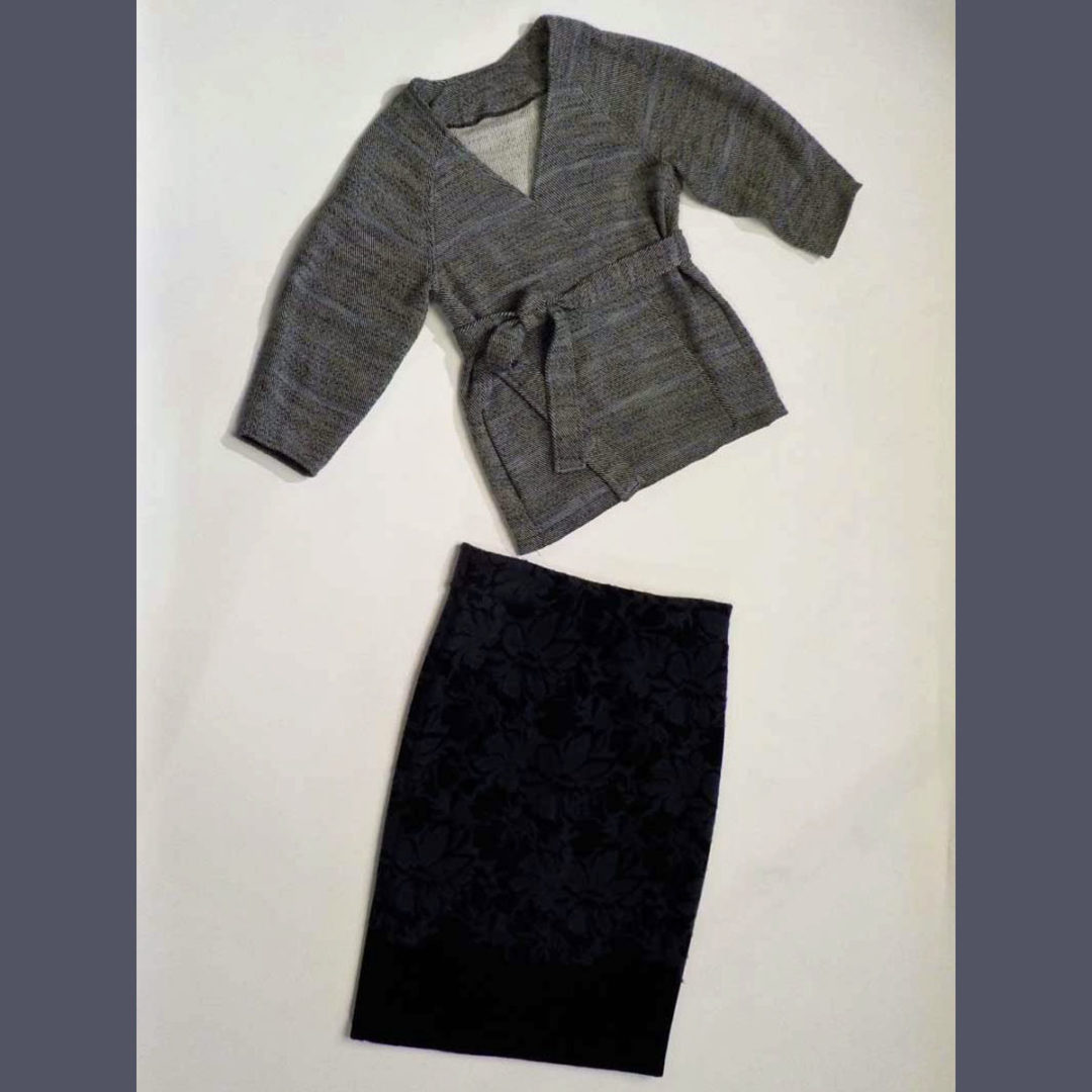 Handwoven twill jacket and bonded wool skirt