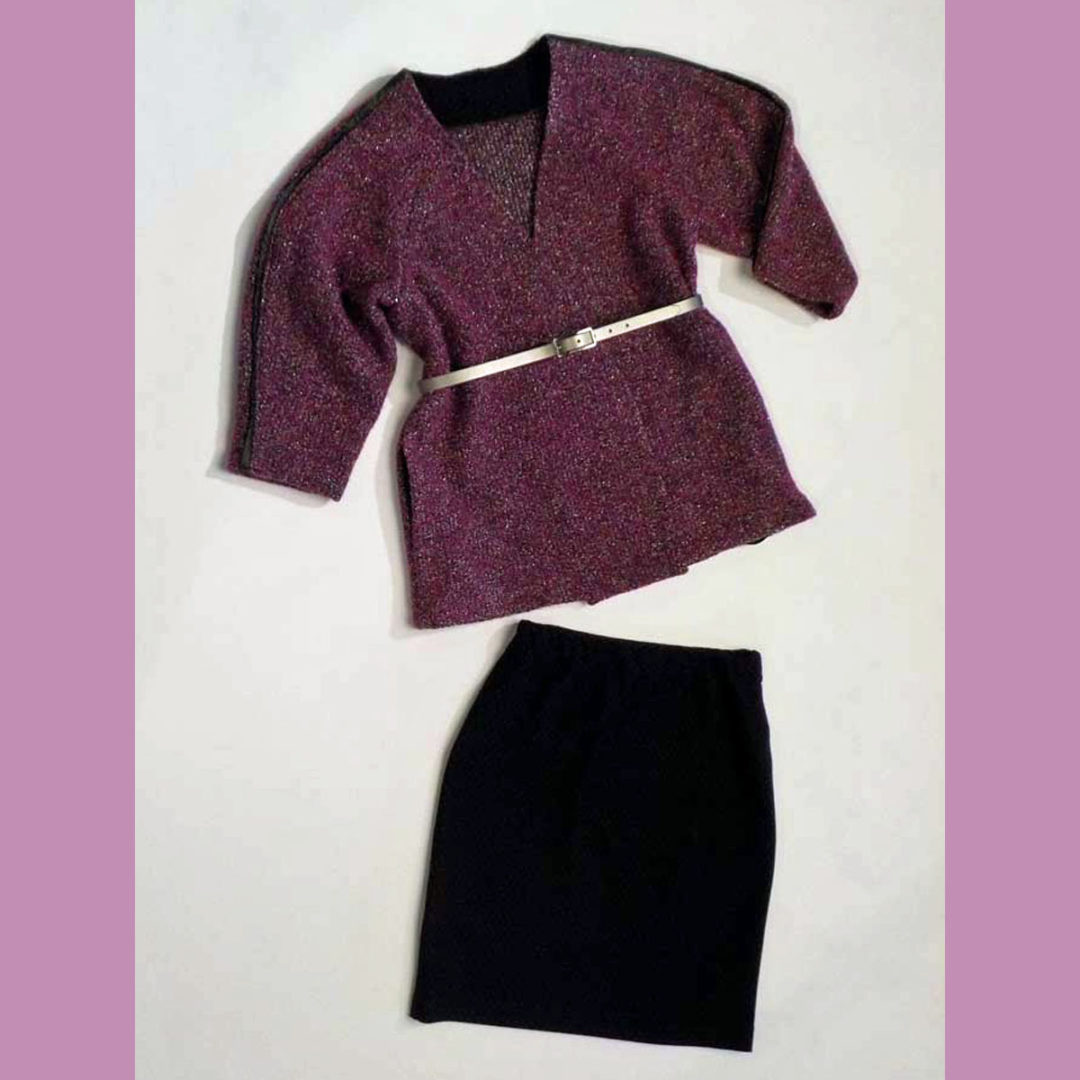 Boucle jacket, knit pencil skirt