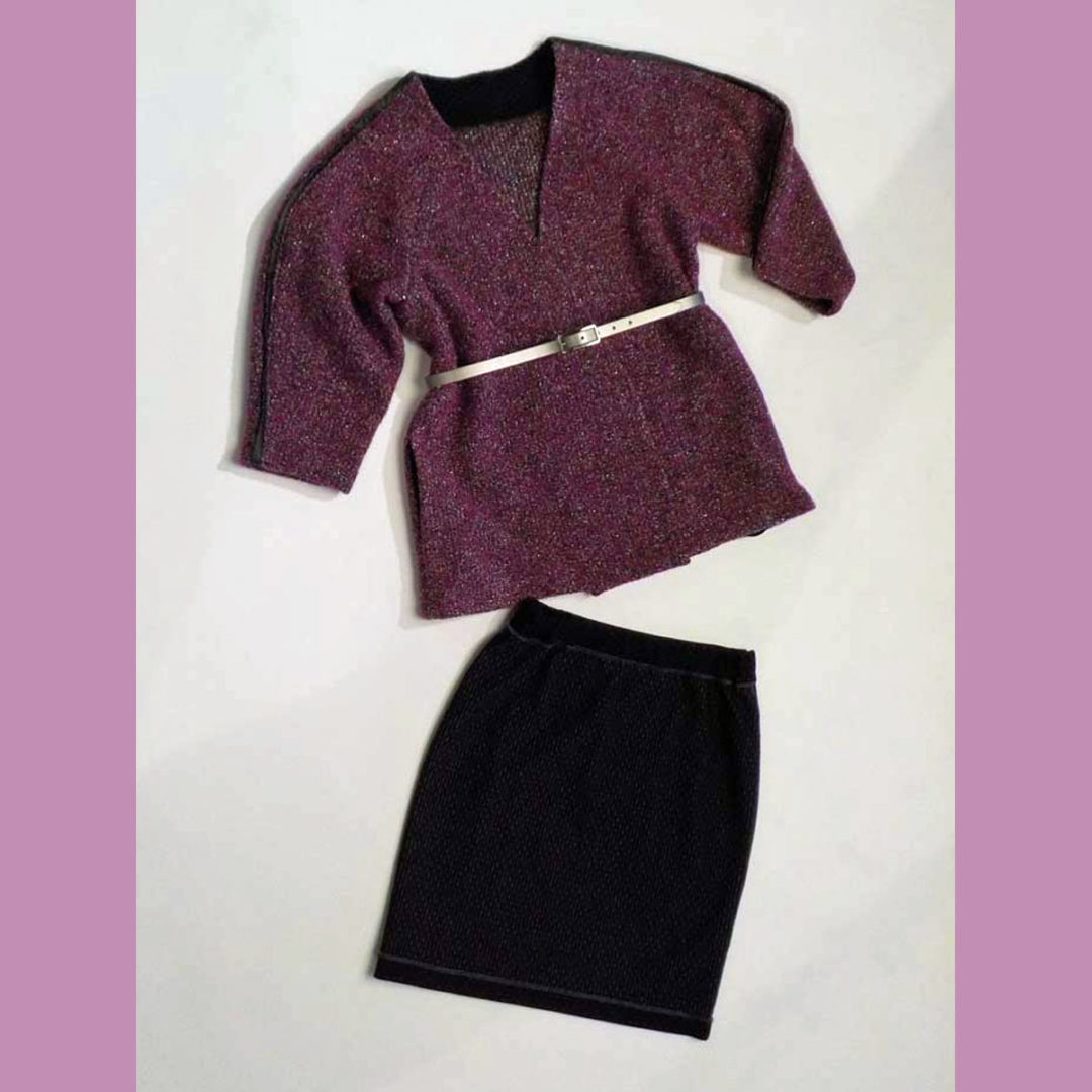 Boucle jacket and knit pencil skirt