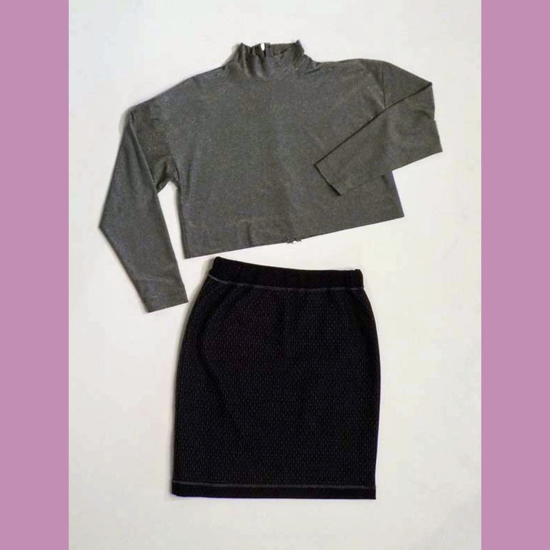 Knit top and skirt
