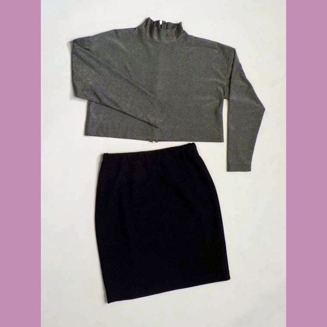 Knit top and pencil skirt